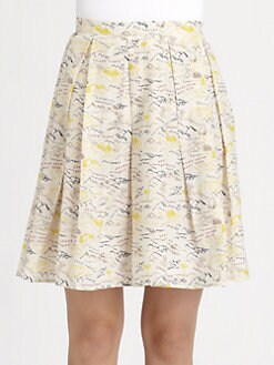 Boy. by Band of Outsiders - Pleated Travel Print Skirt