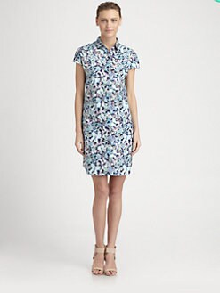 Cacharel - Butterfly Print Cap-Sleeve Shirtdress