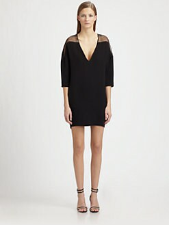 Costume National - Silk Drop-Shoulder Minidress