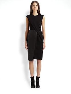 Costume National - Draped Leather Inset Dress