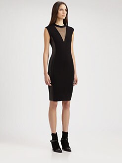 Costume National - Mesh Leather Inset Dress
