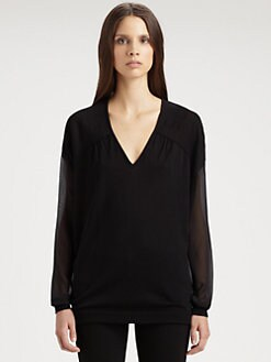 Costume National - Sheer-Sleeve Pullover