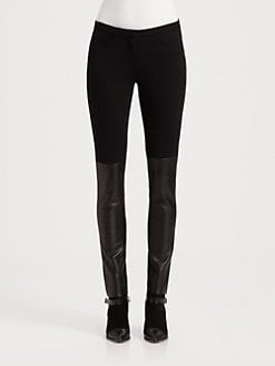 Costume National - Leather Inset Leggings