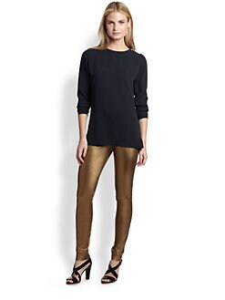 Ralph Lauren Black Label - Metallic Stretch Leather Abbey Leggings
