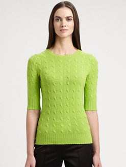 Ralph Lauren Black Label - Cable-Knit Cashmere Top