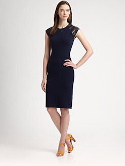 Ralph Lauren Black Label - Leather-Trimmed Dress