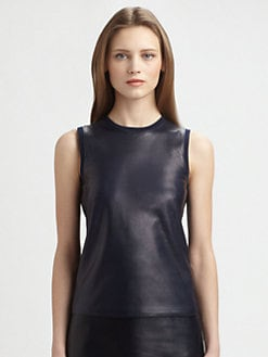 Ralph Lauren Black Label - Leather-Front Cashmere Shell