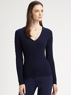 Ralph Lauren Black Label - Cashmere Cable-Knit V-Neck Sweater