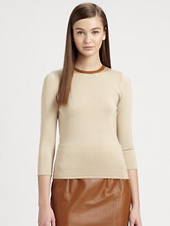 Ralph Lauren Black Label - Leather-Trimmed Top
