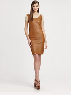 Ralph Lauren Black Label - Leather-Front Dress