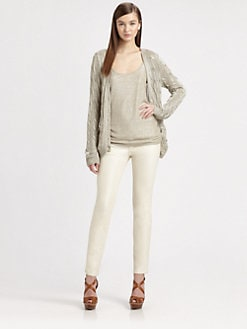 Ralph Lauren Black Label - Metallic Cable-Knit Cardigan