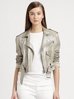 Ralph Lauren Black Label - Metallic Suede Motorcycle Jacket