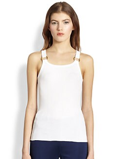 Ralph Lauren Black Label - Ring-Detailed Ribbed Cotton Tank
