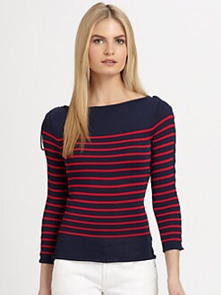 Ralph Lauren Black Label - Lace-Up Sleeve Striped Top
