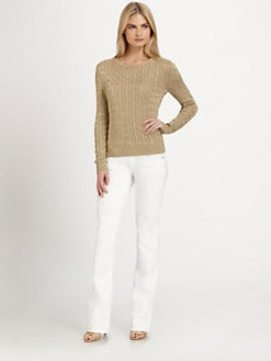 Ralph Lauren Black Label - Metallic Cable-Knit Sweater