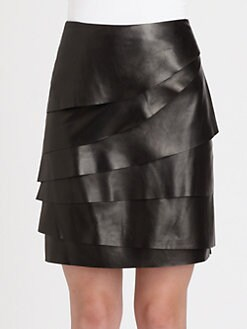 Ralph Lauren Black Label - Layered Leather Talisa Skirt