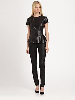 Ralph Lauren Black Label - Leather Mariola Peplum Top