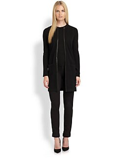 Ralph Lauren Black Label - Leather-Trimmed Cashmere Cardigan