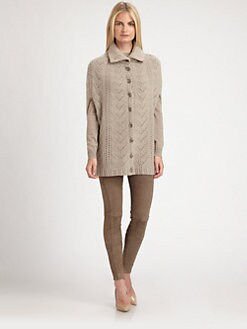 Ralph Lauren Black Label - Suede-Trimmed Knit Lace Cape