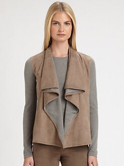 Ralph Lauren Black Label - Suede-Trimmed Drape Cashmere Cardigan