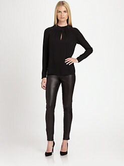 Ralph Lauren Black Label - Leather-Collar Silk Ananda Top