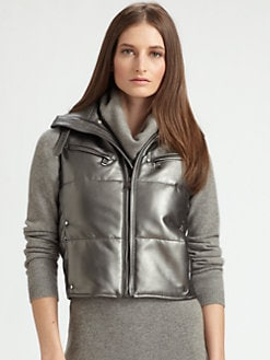 Ralph Lauren Black Label - Metallic Leather Puffer Vest