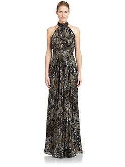 Badgley Mischka - Back Drape Printed Silk Halter Gown