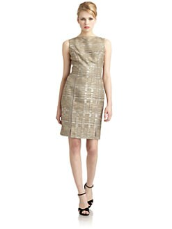 Badgley Mischka - Metallic Tweed Sheath Dress