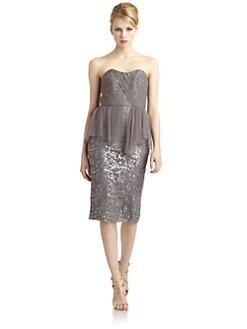 Badgley Mischka - Tulle Peplum Embellished Dress
