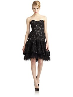 Badgley Mischka - Drop Waist Strapless Lace Dress