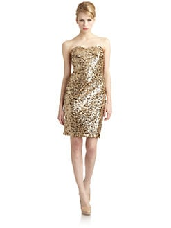 Badgley Mischka - Sequin Strapless Dress