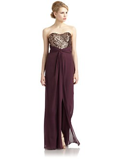 Badgley Mischka - Silk Twist Front Sequin Strapless Gown