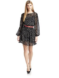 Ali Ro - Silk Chiffon Belted Polka Dot Dress