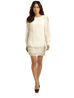 Alexia Admor - Embellished Split-Sleeve Silk Dress