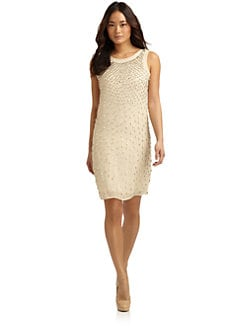 Alexia Admor - Embellished Sleeveless Silk Shift Dress