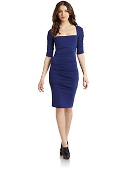 Nicole Miller - Squareneck Ruched Cocktail Dress