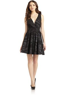 Nicole Miller - Jacquard Twist Back Pleated Cocktail Dress