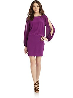 Nicole Miller - Silk Slit Sleeve Dress