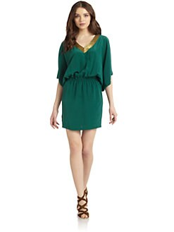Nicole Miller - Silk Embellished V-Neck Dress