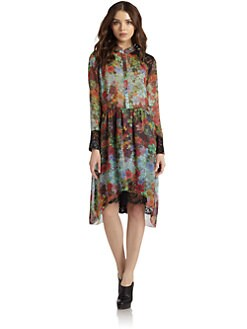 Nicole Miller - Silk Chiffon Floral Shirt Dress