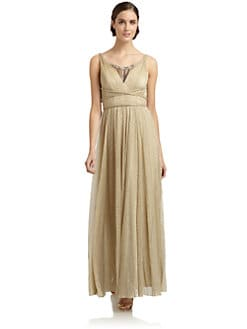 ABS - Embellished Knife-Pleated Metallic Gown