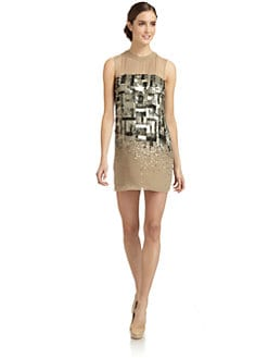 ABS - Silk Chiffon Sequin-Patterned Dress