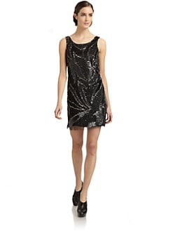 ABS - Sequined Mesh Dress