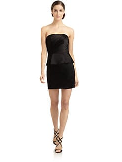 ABS - Strapless Satin Peplum Dress