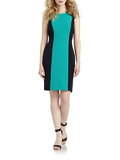 Chetta B - Pintucked Colorblock Dress