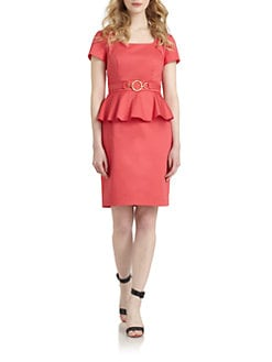 Chetta B - Stretch Cotton Peplum Sheath Dress