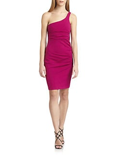 susana monaco - Ruched One-Shoulder Dress
