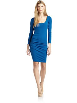 susana monaco - Ruched Long-Sleeve Dress