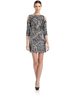 Aidan Mattox - Embellished Cutout Detail Cocktail Dress
