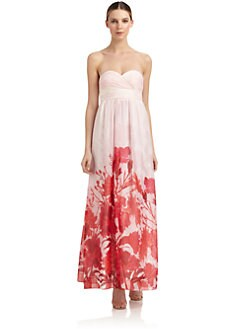 Aidan by Aidan Mattox - Chiffon Strapless Floral Gown